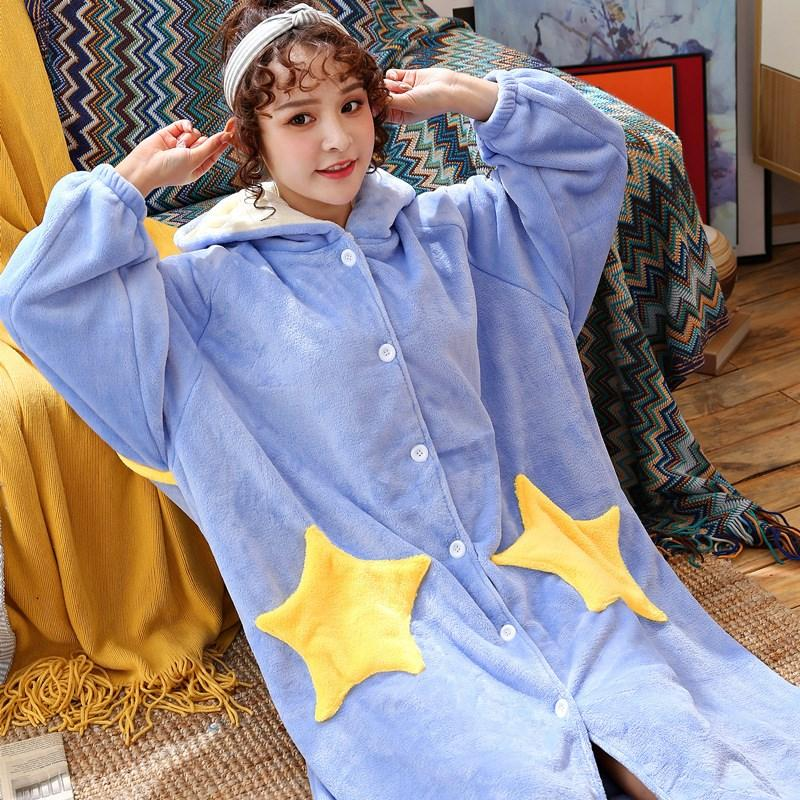 2019 Plus Size New Female Pajamas Women Star Print Flannel Robe Dressing  Gown Long Sleeve Robes Dressing From Vanilla15 62e2070d6