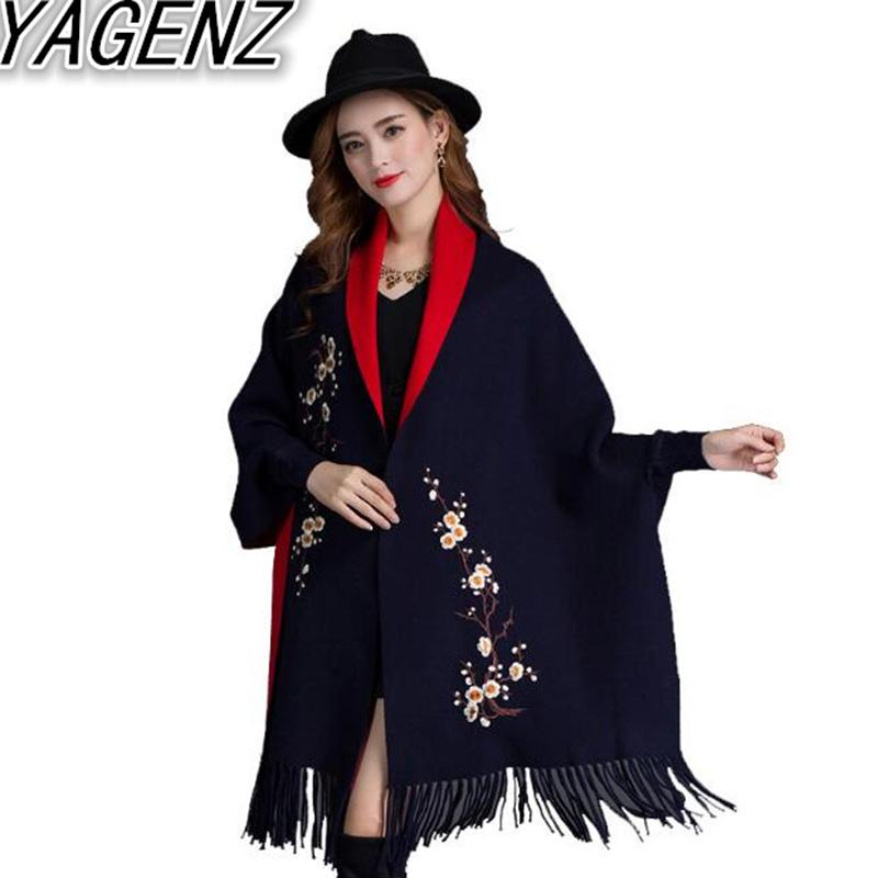 YAGENZ Tassel Cloak Shawl Jacket Damen Herbst Winter New Large Size Pullover Strickjacke Cloak Damen Bestickt Loose Bat Shirt
