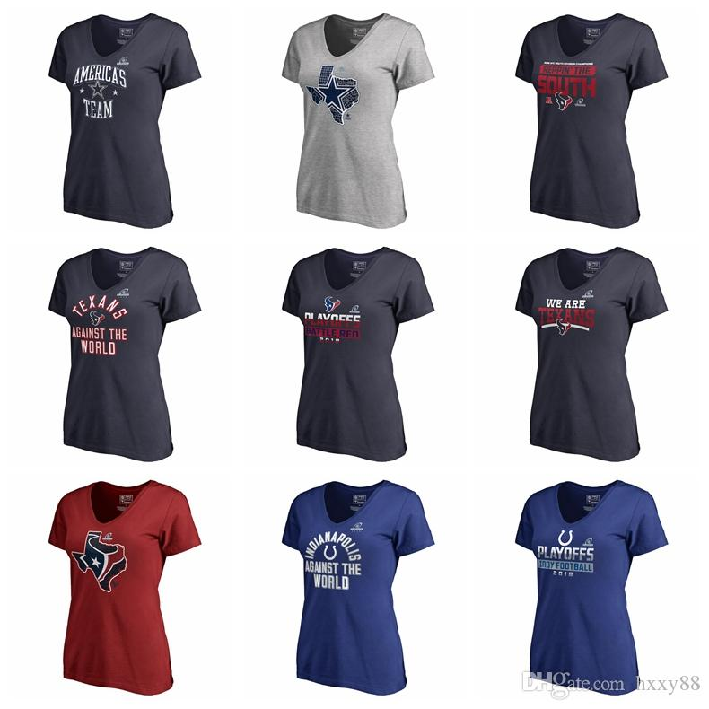 separation shoes 8f31f 23d66 Dallas Cowboys Houston Texans Indianapolis Colts Pro Line by Fanatics  Branded Women's 2018 Division Champions Fair Catch V-Neck T-Shirt
