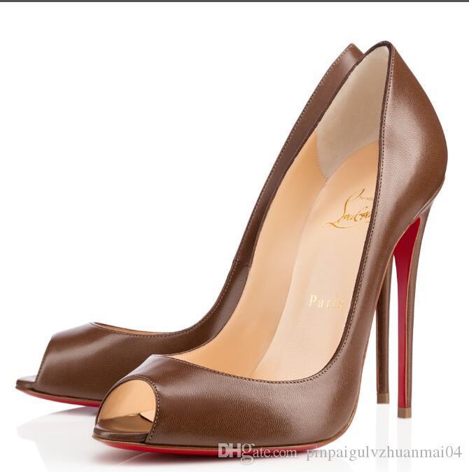 online store dcf97 c91e1 Christian Louboutin CL Red Bottom High Heels Platform Shoe Pumps Nude/Black  Patent Leather Peep-toe Women Dress Wedding Sandals Shoes p21
