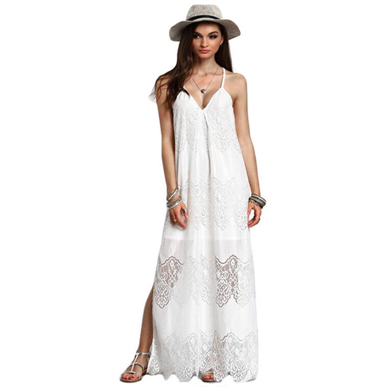 bd1c92a9ea9 Women Casual Long Loose Dress Scalloped Lace Spaghetti Strap Plus Size  Beach Dress 5XL Boho Maxi Tunic Dress Clothing Robe Femme Lulu Party  Dresses 4 ...