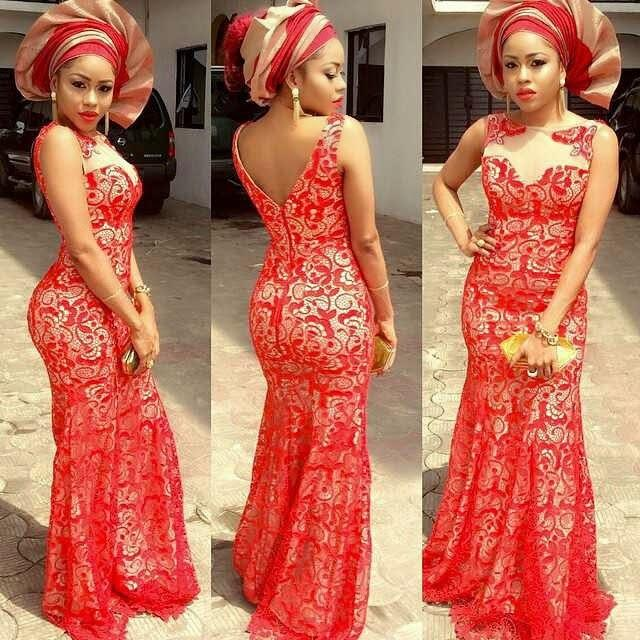 2018 New Aso Ebi Style Long Evening Dresses Red Boat Neck Fully Lined Floor-length Africa Nigerian Lace Bellanaija Gowns Plus Size