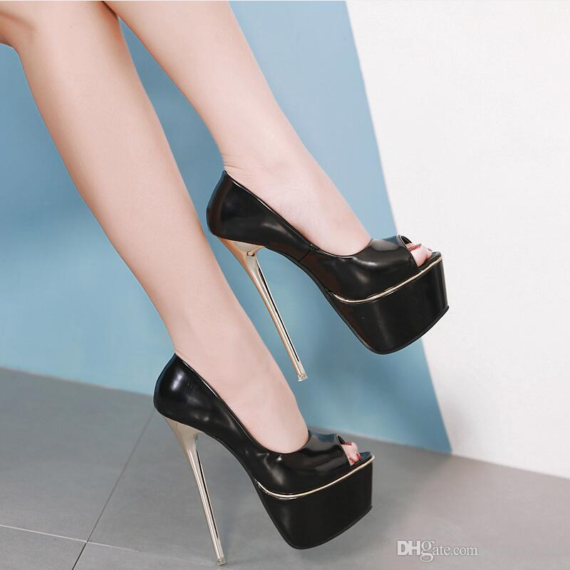 5bccc9fca7 European 2019 New Sexy Patent Leather Platform Pumps Thin Metal Heel 16cm Women  High Heels Peep Toes Party Shoes Beige Black Silver Heels Dress Shoes From  ...