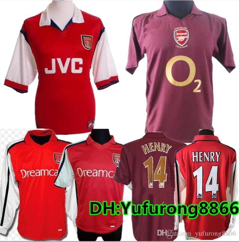 best website 70826 44b3a 2005 2006 HIGHBURY HOME FOOTBALL SHIRT JERSEY SOCCER PIRES HENRY REYES 2000  02 Retro JERSEY 05 06 98 99 BERGKAMP Long sleeve 2008 07
