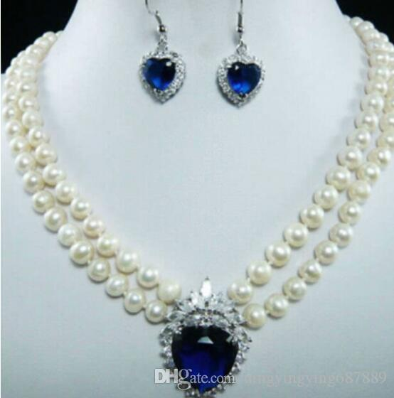 2649b28e61177 FREE SHIPPING + > 7-8mm Natural White Pearl Blue Crystal Pendant Necklace +  Earrings Set