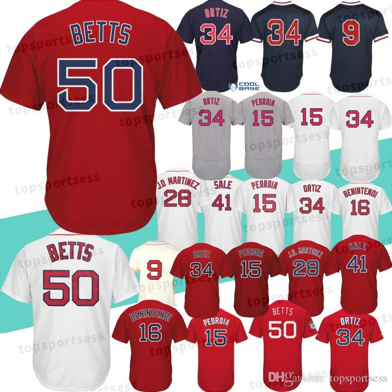 Boston Sox 50 Mookie Betts Jersey 15 Dustin Pedroia 9 Ted Williams ... c353ad96c