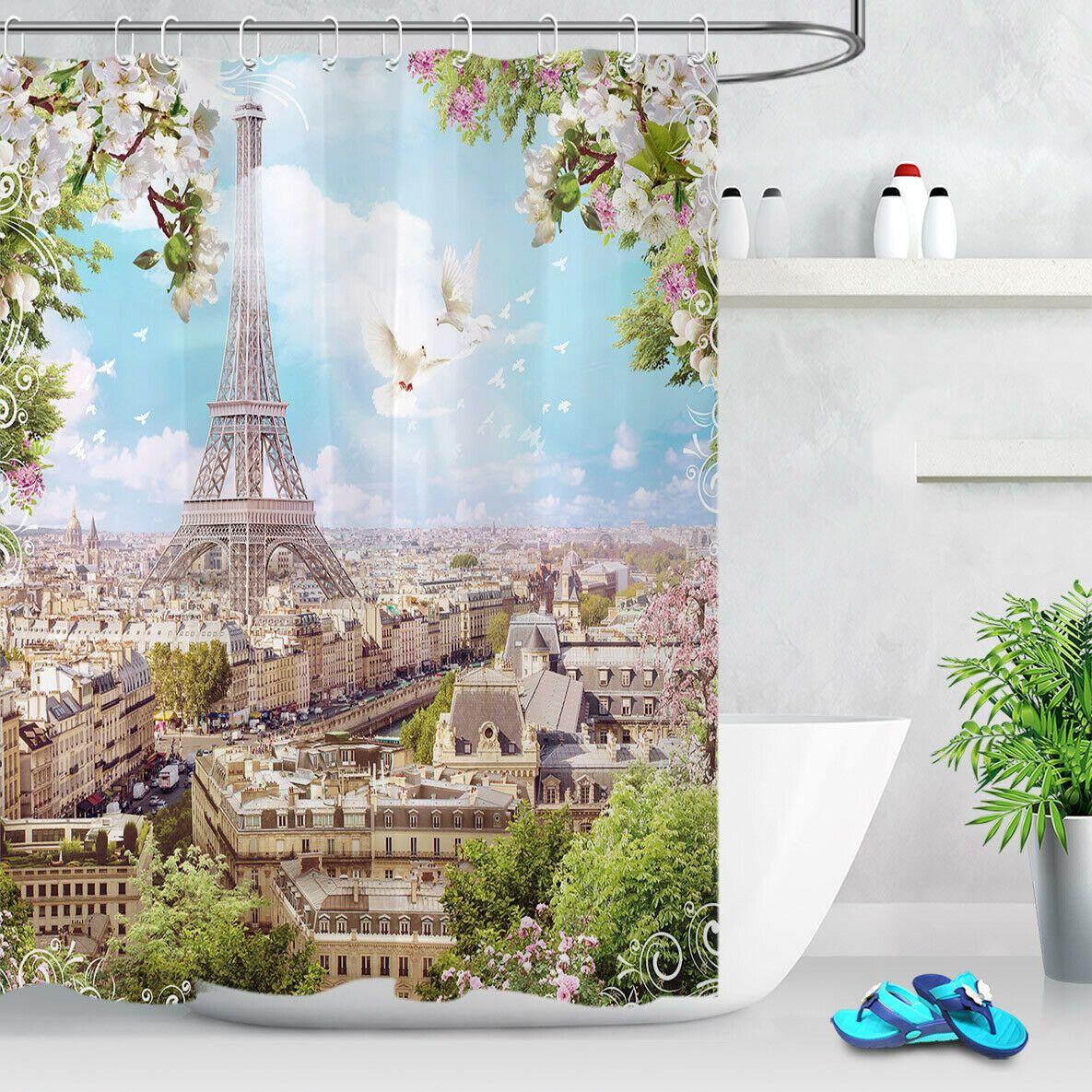 "Owl Mechanical  Clock Shower Curtain Bathroom Waterproof Polyester Fabric 71/"""