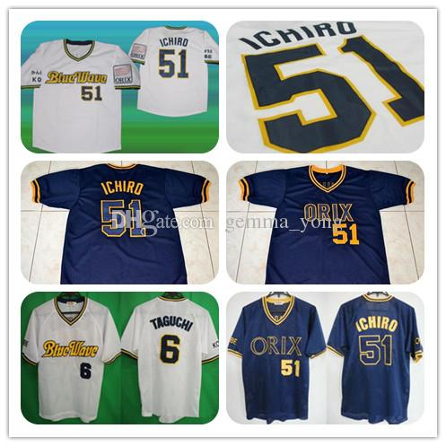 c247a0d5c10 2019 Cheap Men S 51 Ichiro Suzuki 6 Tagughi Japan ORIX BLUE WAVE Baseball  Jersey White Navy Sewn Shirt Good Quality S 5XL From Gemma yong
