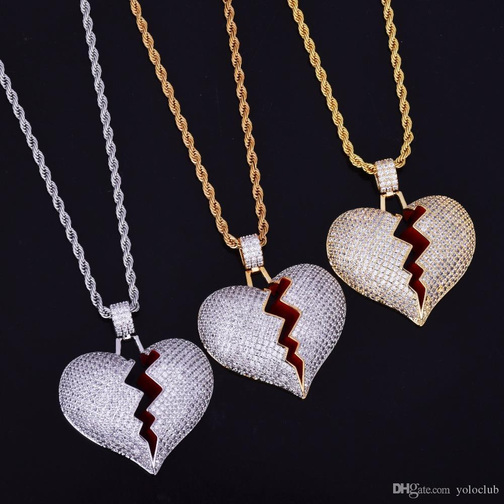 dcc5833cffcb2 Iced Out Broken Heart Necklace & Pendant With Tennis Chain Gold Color Bling  Cubic Zircon Men's Hip hop Jewelry For Gift
