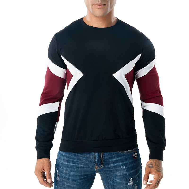Men Long Sleeve T Shirt Geometric Crewneck Casual Tee Contrast Color Ribbed Pullover S - 3XL Free Shipping