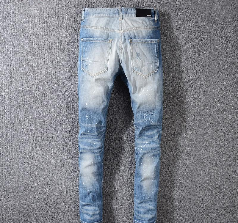 2019 Fashion Europe American Men Denim Trousers Jeans Washed Vandalized Trousers Zipper Pants Light Blue Slim High Street Jeans wholesale