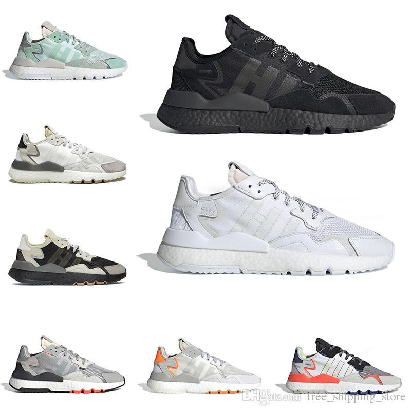 huge discount ce97d 27928 Acheter 2019 Adidas Nite Jogger Boost 3 M Chaussures De Course  Réfléchissantes Pour Hommes Femmes Top Qualité Triple Noir Blanc Respirant  Mens Formateur ...