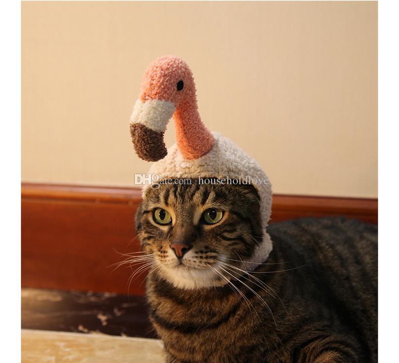 Acquista Flamingo Carino Divertente Cappuccio Pet Gatto Cappello