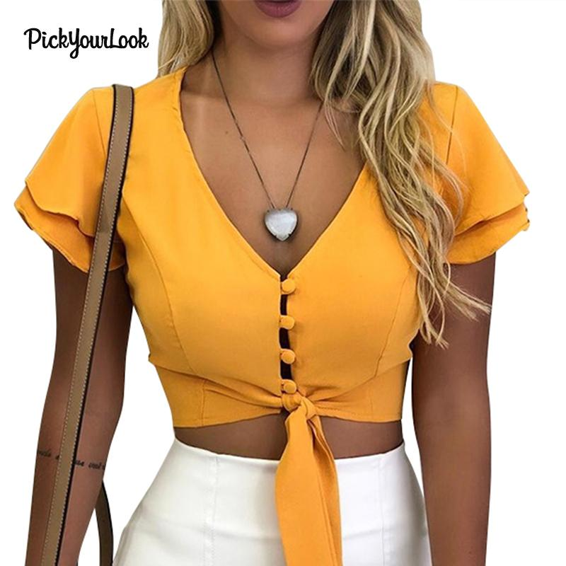 Pickyourlook Women T-Shirt And Top Deep V Solid Female Crop Tee Shirt Summer Short Sleeve Ruffle Work Formal Lady Blusas T