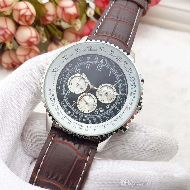 0444e01badc9 Compre Relojes Para Hombre De La Marca Suiza Navitimer  Todo El Trabajo De  Sub Dial Funcional Cronógrafo Reloj Correa De Cuero De Calidad AAA  Diseñador De ...