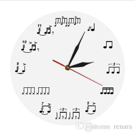 1Piece Drum Notes Rudiments Wall Clock Acrylic Time Clock Music Notes Wall Art Home Decor Handmade Gift For Music Lover Musician