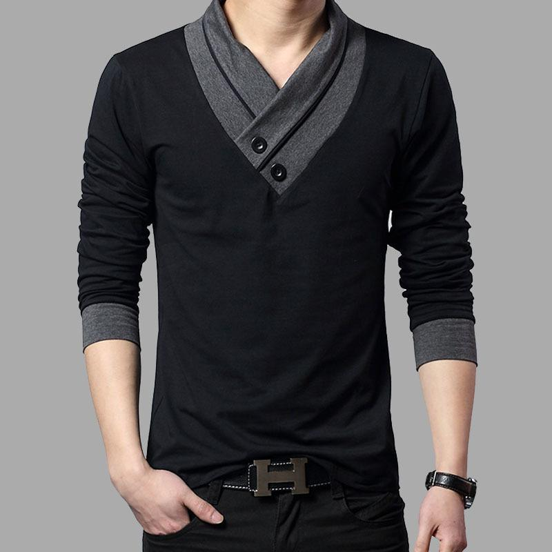 f580036ad Fashion Brand Trend Slim Fit Long Sleeve T Shirt Men Patchwork Collar Tee V  Neck Men T Shirt Cotton T Shirts Plus Size Design Your Own T Shirts Womens  Shirt ...