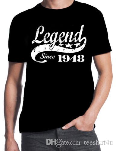 70Th Birthday Legend Since 1948 70 Years Old Gift Idea Dad Present Black T Shirt Mens Geek Short Sleeve Crewneck Cotton Big