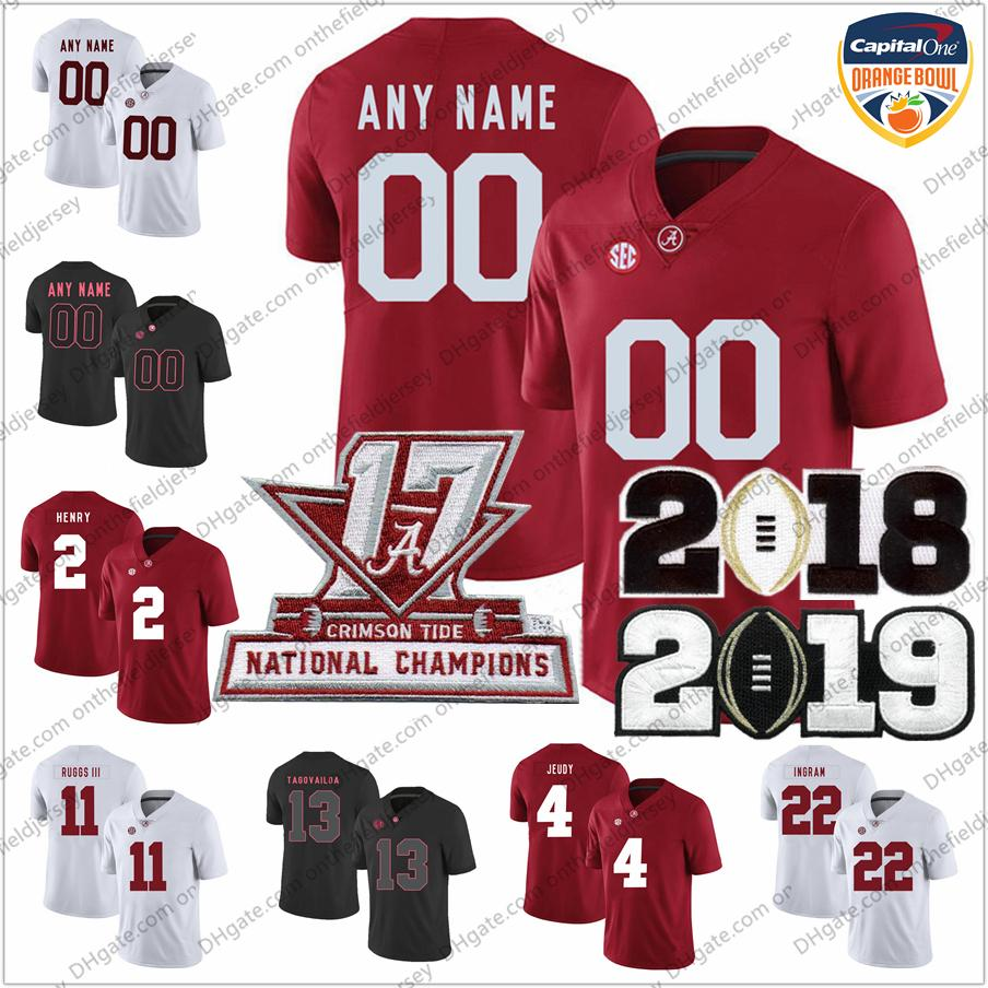 new styles a9cae f3181 Custom Alabama Crimson Tide National Champions Championship Orange Bowl  College Football Jerseys Stitched Any Name Number S-3XL