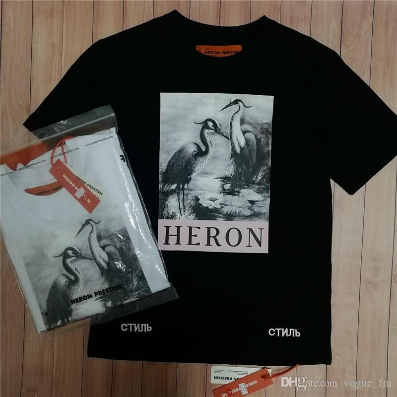 morbido e leggero pacchetto elegante e robusto colore veloce Giusta versione HERON PRESTON Camicie firmate per uomo Tshirt Heaven Hell  Print Summer Top Tees shirt per donna taglia S-XL