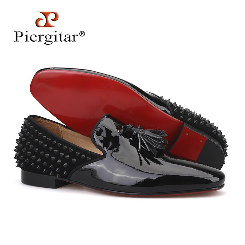 372da6a4380d94 Piergitar 2018 Handmade Black Patent Leather Men Shoes Fashion Red Bottom  Tassel Men'S Loafers Spiked Designs Men Flats Buy Shoes Online Slip On  Shoes From ...