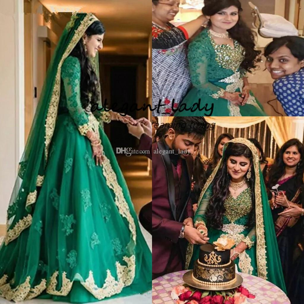 Crystal India Muslim Wedding Dresses with Long Sleeve 2019 Modest Emelard  Green Lace Saudi Arabian Dubai Caftan Bridal Wedding Gown