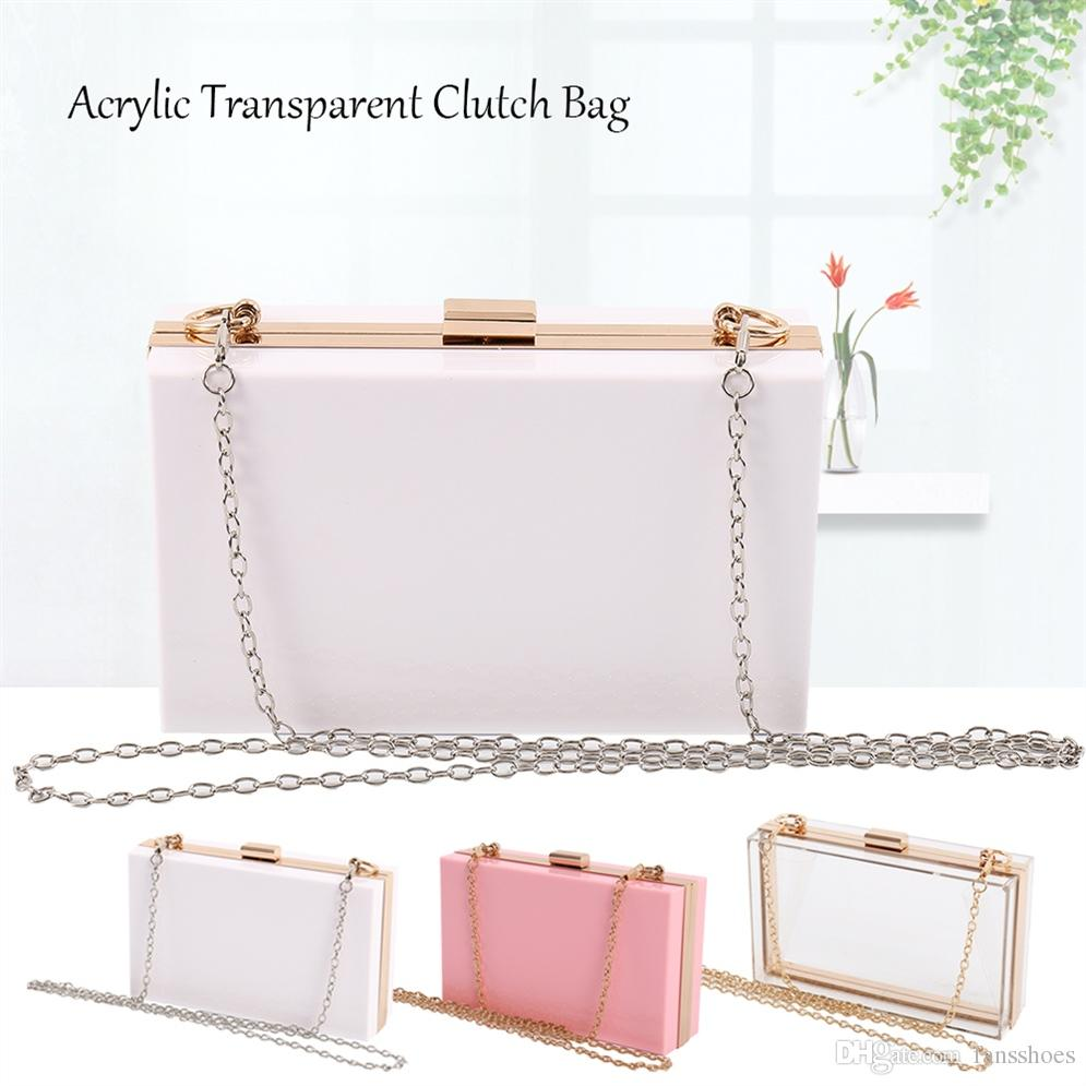 8062cb3a382c7d Acrylic Transparent Clutch Chain Box Women Shoulder Bags Hard Day Clutches  Bags Wedding Party Evening Purse #48844 Leather Handbags Ladies Handbags  From ...