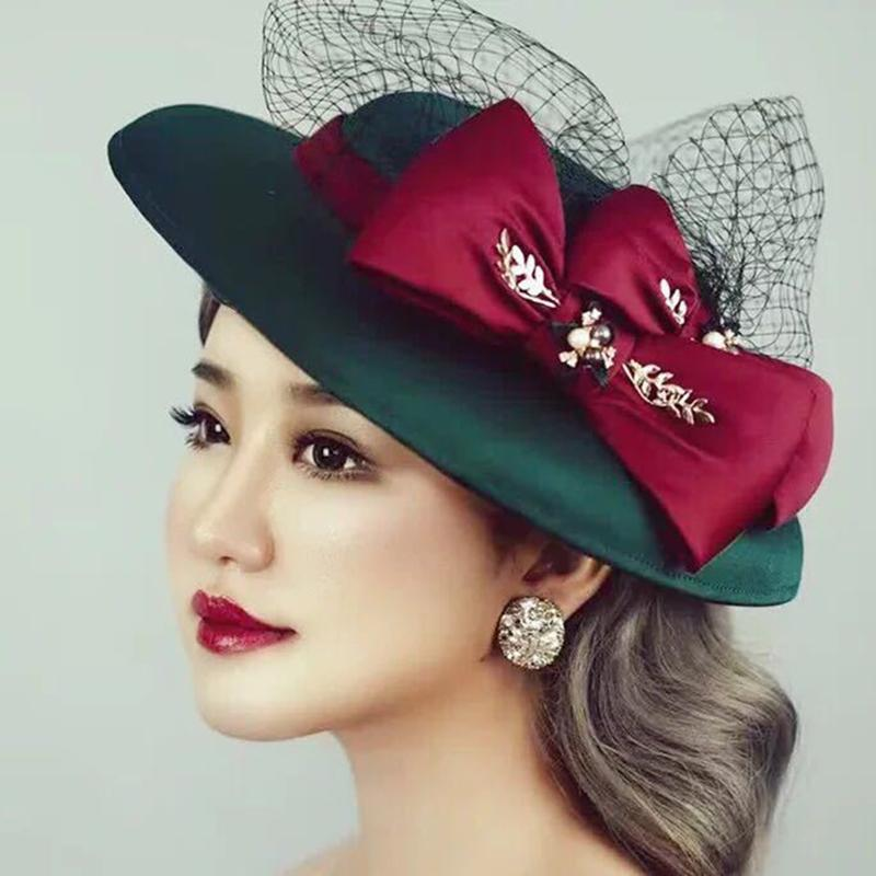 16697194a9d 2019 Large Wide Brim Women Winter Hat 2019 Green Fedora Hats Veil Felt Cap  Ladies Bow Cloche Caps Wedding Female M157 From Tonic