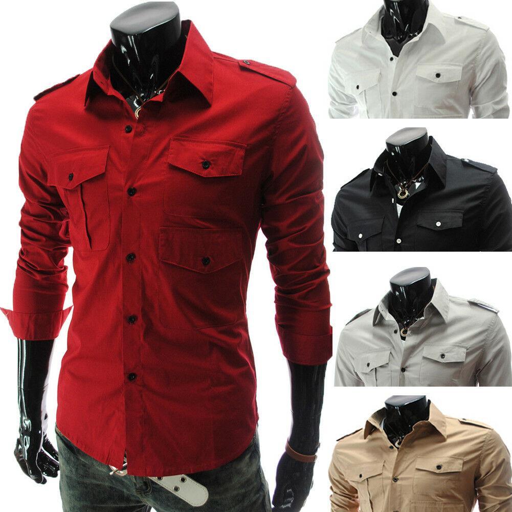 d7189dc5ea73 Camisa de vestir de manga larga con botones y botones para hombre Camisas  de negocios Tops Moderno
