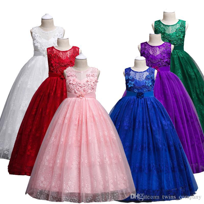 25121fcb1287 2019 Fashion Girls Lace Wedding Long Dress Kid Elegant Princess ...