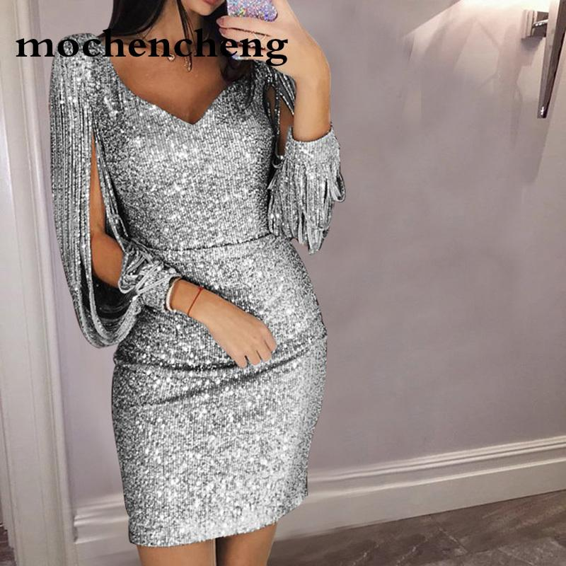 a3cdc9adcd8 2019 Tassel Lantern Sleeve Sequin Dress Women Sexy V Neck Bodycon Dresses  Autumn Fashion Elegant Party Dress Sequined Vestidos Mujer From  Heymonster02