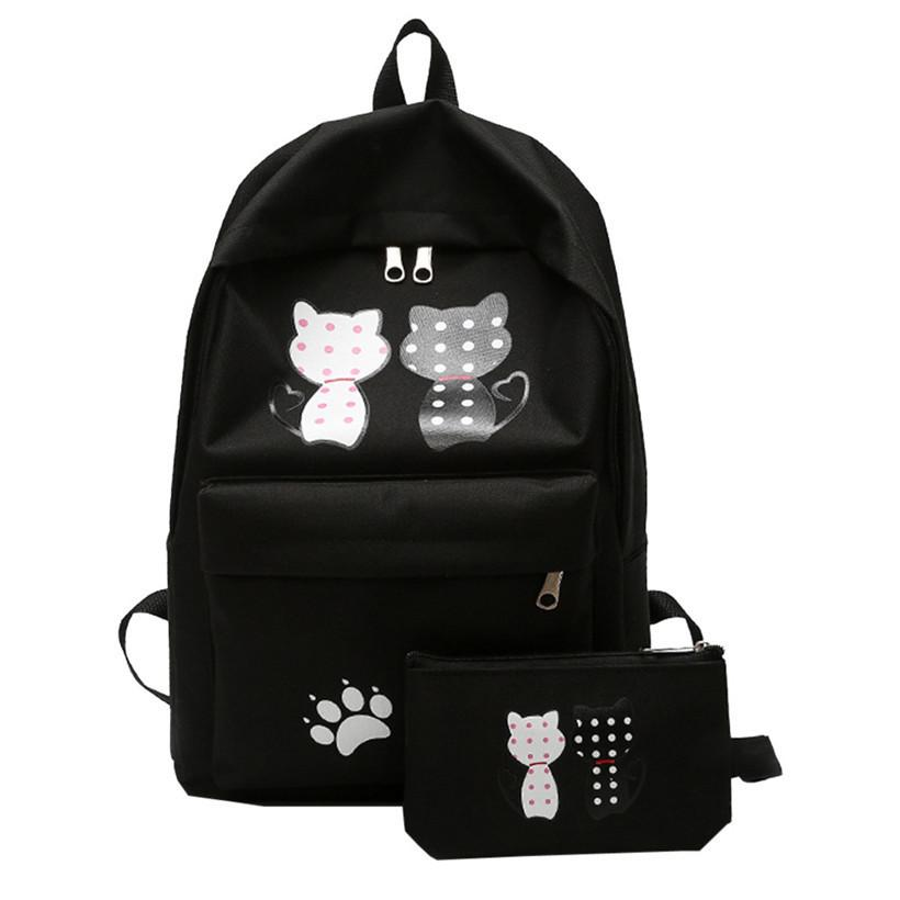 a6640257d32f 2019 Fashion Canvas Women Backpack Korean Cute Cat Pattern Women S Backpack  Canvas Bagpack Schoolbag For Girls Rucksack Backpacks For College Backpacks  For ...