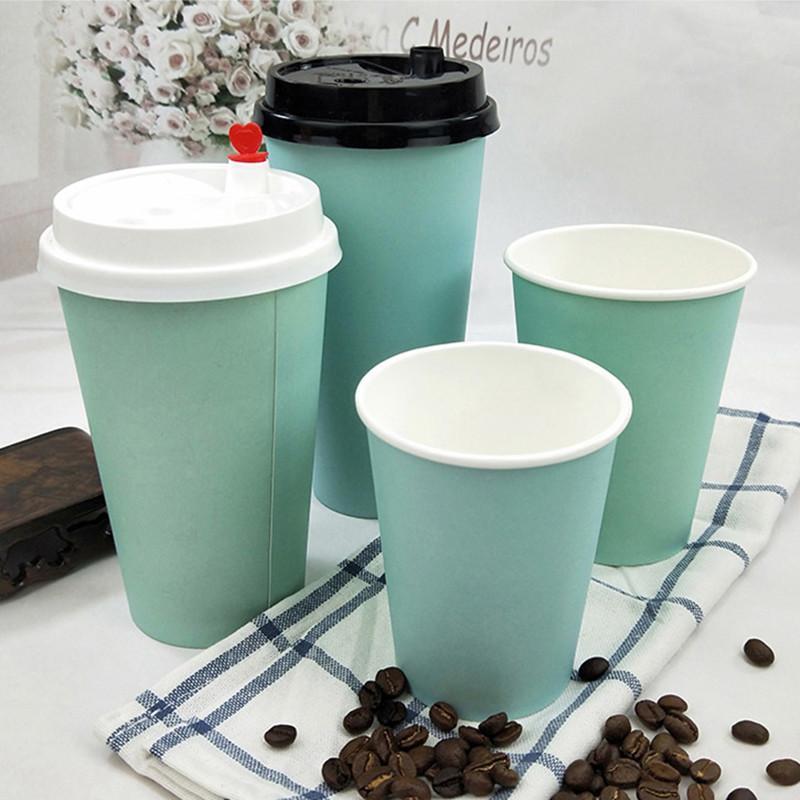 200 pcs azul grosso copo de papel descartável xícara de café leite chá bebida quente takeaway copos de embalagem com tampas