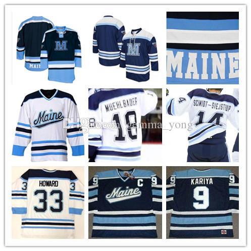 online retailer 4f6f7 0b593 Custom NCAA Maine Black Bears Hockey Jerseys Men s 33 JIMMY HOWARD 9 PAUL  KARIYA 3 ROB MICHEL CHASE PEARSON MITCHELL FOSSIER MUEHLBAUER