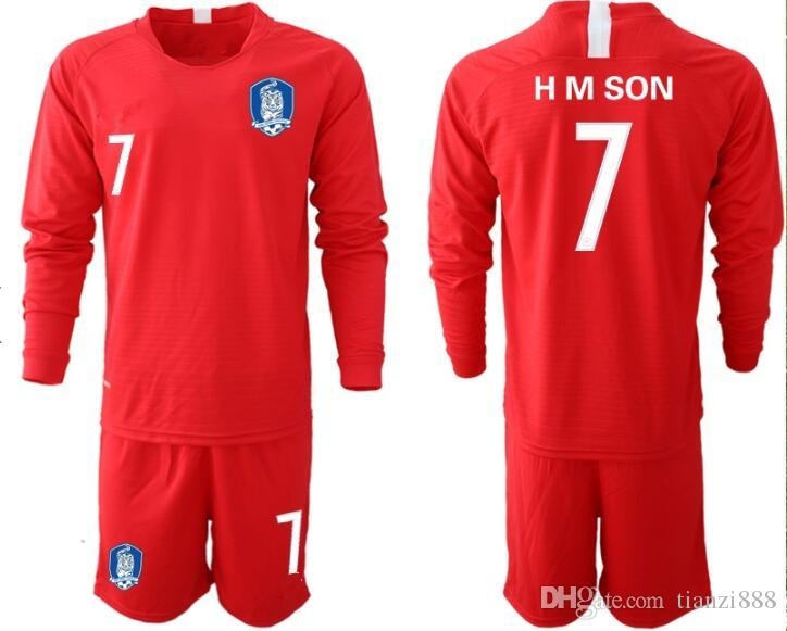 2019 1819 Men Soccer Jerseys Goalkeeper Kit H M SON  7 Korea Goalie Uniforms  Red Long Sleeve Kit Adult Size S XL From Tianzi888 6ba6b2cce