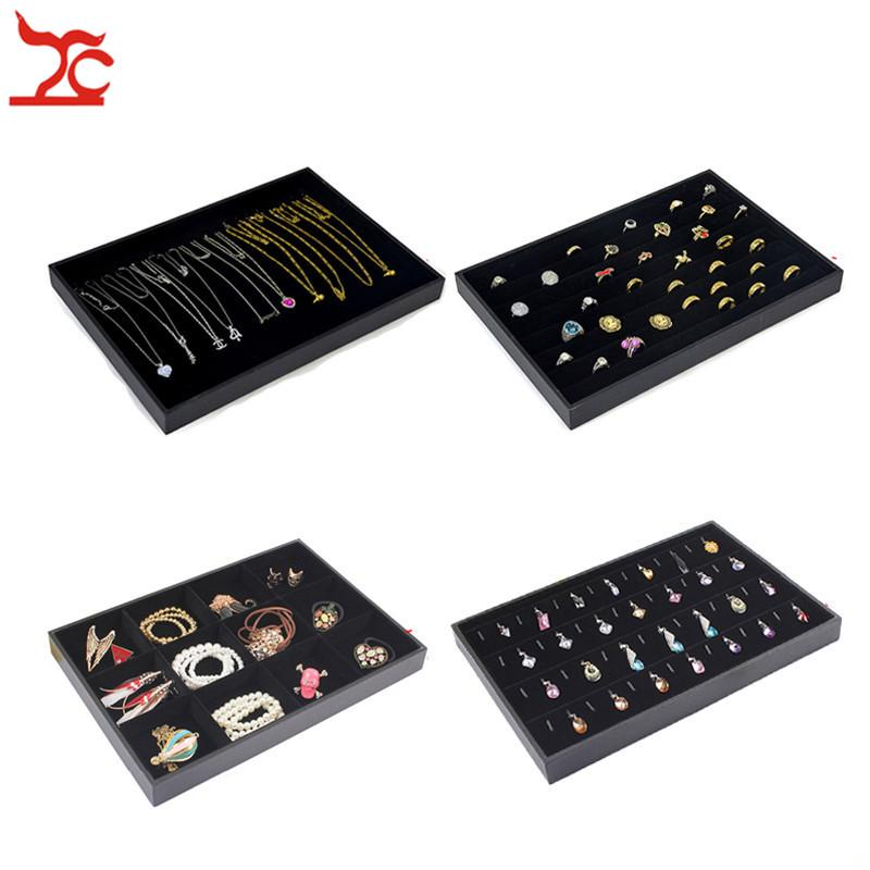 Black Velvet Stackable Jewelry Display Trays Necklace Ring Earring Holder Showcase Pendant Watch Storage Jewelry Boxes
