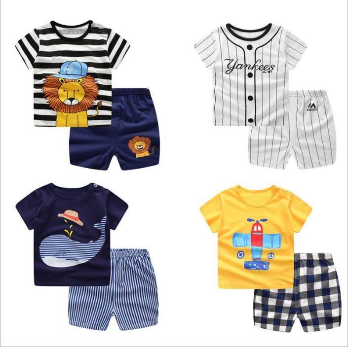 05b916120 2019 Boys Clothes Kids Summer Clothing Sets Baby Printed T Shirt Pants  Suits Short Sleeve Tops Shorts Outfits Cotton Animal Payamas Nighty B4337  From ...