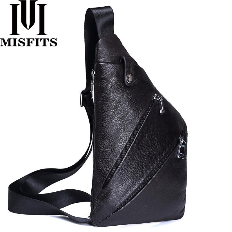 Misfits New Genuine Leather Men Chest Bag Fashion Crossbody Bag Men Messenger Bags Cow Leather Travel Pack For Male Shoulder Bag Y19061803