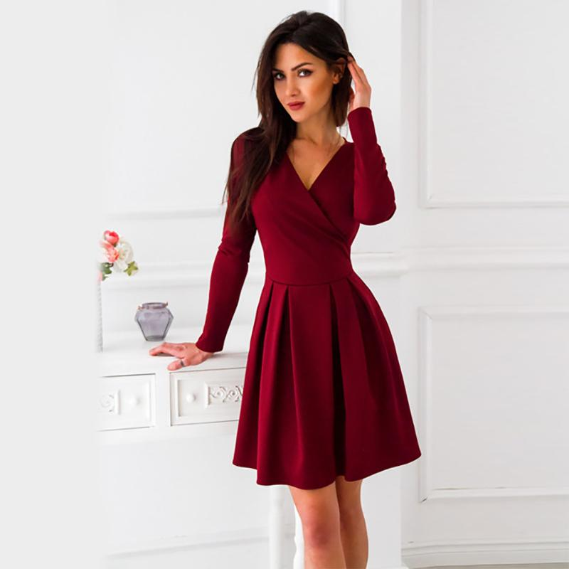 6be21c1cd92f Autumn Dress 2019 New Arrival Women Long Sleeve Deep V Neck Sexy A Line  Office Burgundy Blue Dress Cute Cocktail Dresses Designer Party Dresses  From ...