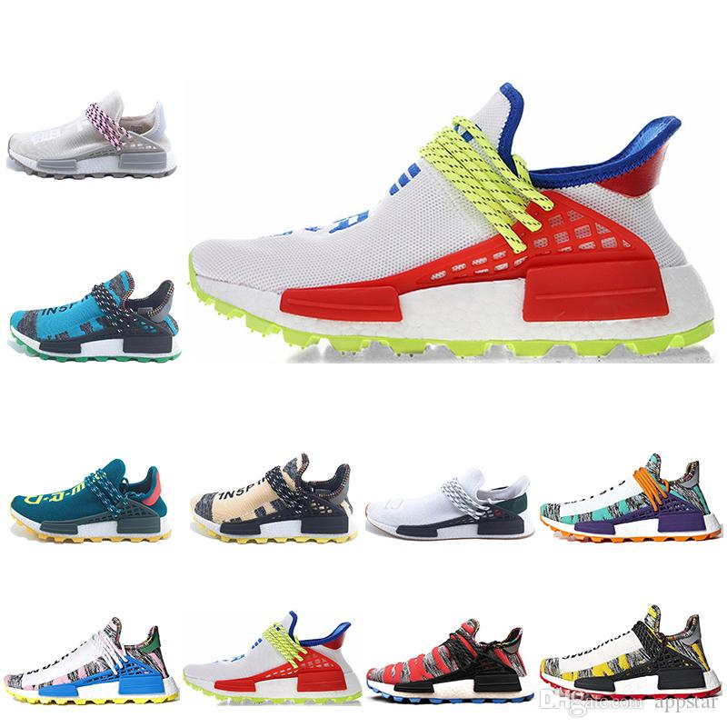 9b8bf3ab48c04 2019 Classic Human Race Hu Trail Pharrell Williams X Nerd Men Running Shoes  Black White SOLAR PACK Mens Trainers Women Sports Sneaker Size 36 47 From  ...