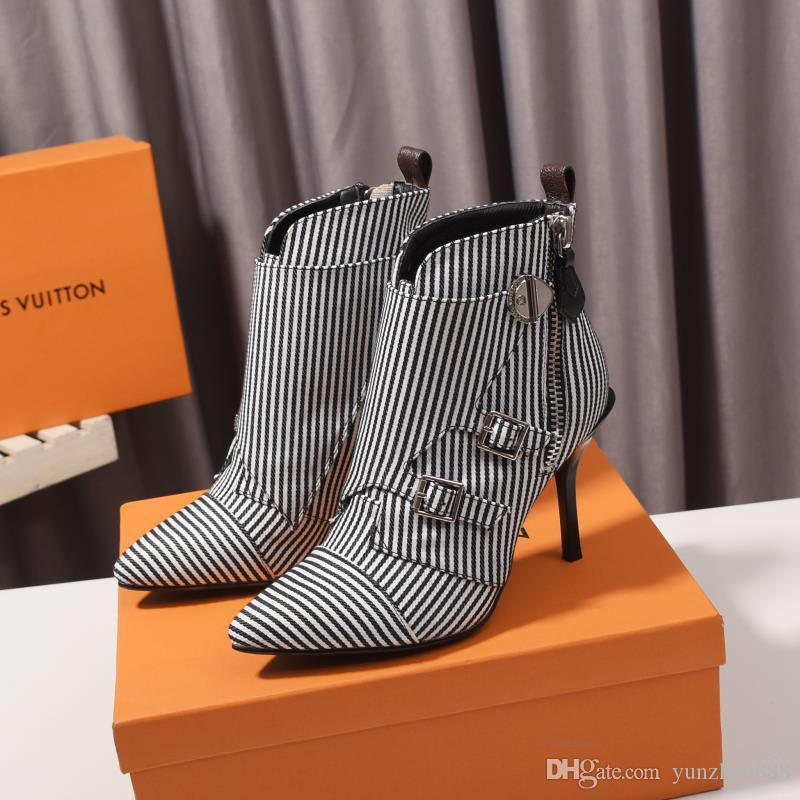 Women Luxury designer boots Striped ankle boot chunky heel Martin shoes 9.5cm pointed V-shaped stiletto boots