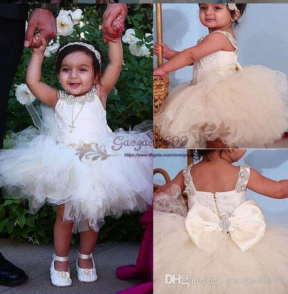 2019 Knee length Flower Girls' Dresses Tiered Tutu skirt bow with crystal beaded sash Little Girls Princess cheap Baby Pageant Dresses