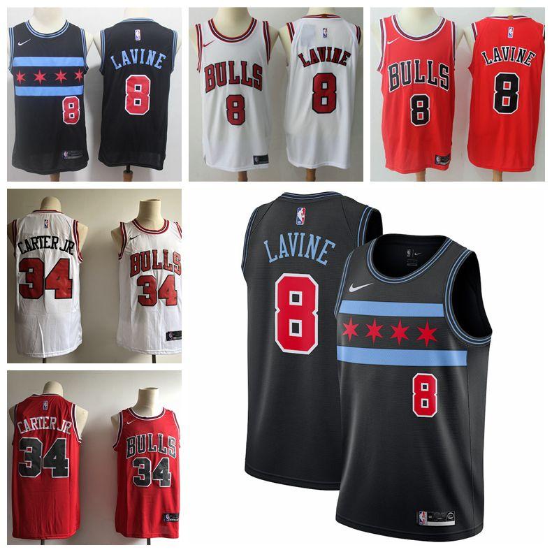 free shipping 6c103 cf292 2019 New City Jerseys 8 LaVine Jerseys Bulls Basketball Jerseys Stitched  Embroidery Mens Bulls 34 Wendell Carter Jr. Basketball Jersey
