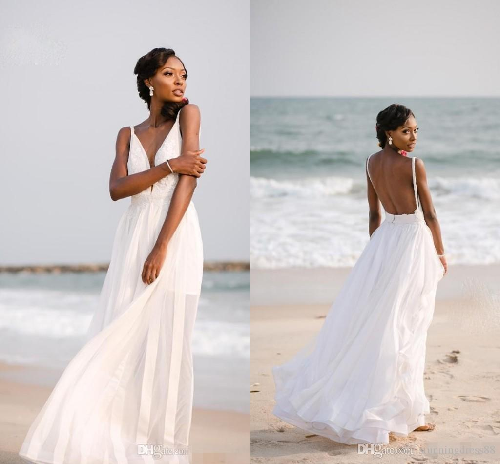 Sexy Black Girl Beach Wedding Dresses 2019 Backless With Strapls Chiffon Lace Applique New Vestidos De Novia Wedding Dress Bridal Gowns