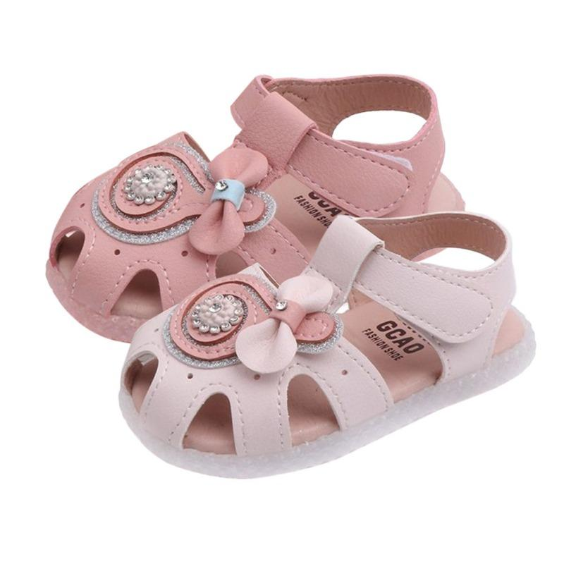 Cute Summer Baby Girl Shoe Good Quality Breathable Anti-Slip Hollow Design Flower Shoes Sandals Toddler Soft Soled First Walkers