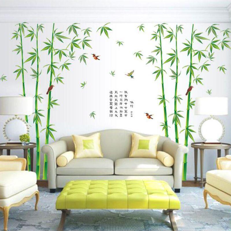 Neue 2 teile / satz Große Grüne Bambus Wandaufkleber Für Schlafzimmer TV  Sofa Hintergrund 222 * 265 cm Wohnkultur DIY PVC Vögel Wandbild Kunst ...