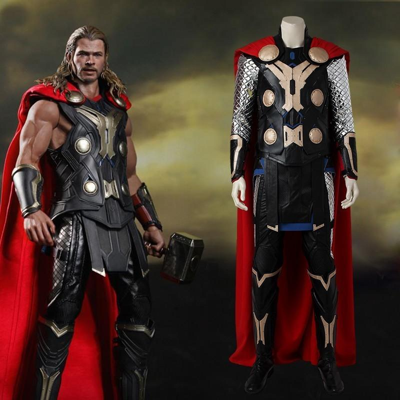 6411f3550f Compre Ostumes Acessórios Trajes Cosplay Vingadores Age Of Ultron Thor  Costume Filme Superhero Traje Cosplay Halloween Adulto Men Full Set Car .