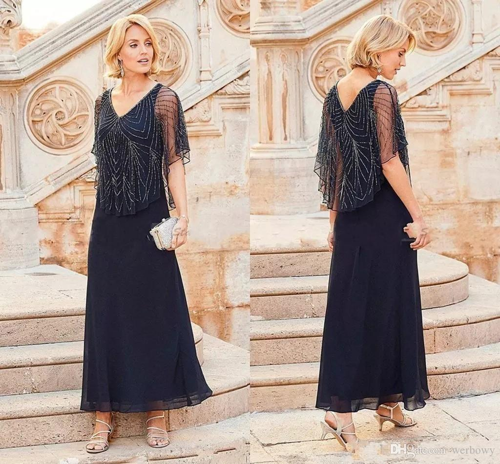 96cb47a12e8 New 2019 Mother Off Bride Groom Dresses Chiffon Navy Blue V Neck Beadings  Cap Sleeves Ankle Length Mother s Formal Gowns
