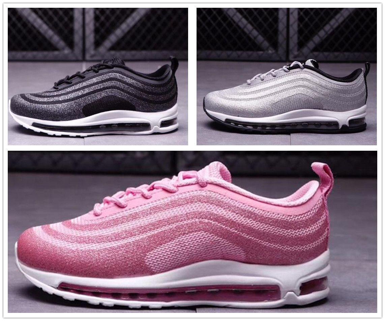 a71a233d Купить Оптом Nike Air Max Airmax 97 New Kids 97 OG Balck Pink Мальчики И  Девочки Кроссовки Тройной Белый Серебряная Пуля Мичиган Высокое Качество  Дети Спорт ...