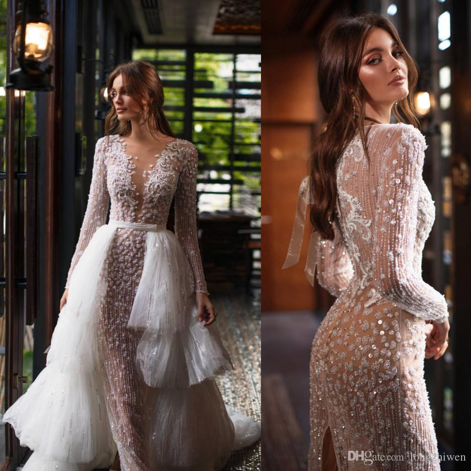 2020 Millanova Glamorous Mermaid Wedding Dresses With Detachable Train Beads Appliques Lace Wedding Gowns Sweep Train Bridal Dresses